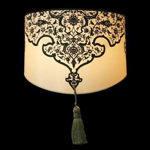 Abat-jour beige avec motifs et un pompon | Applique murale | Lampe |Abat-jour Illimités