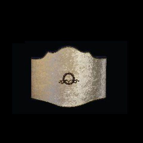 Abat-jour argent avec un symbole brodé | Applique murale | Montréal | Abat-jour Illimités