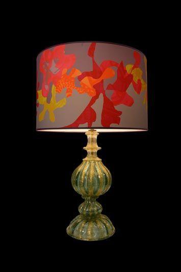 Abat-jour gris foncé avec des motifs rouges, oranges et jaunes | Lampe | Abat-jour Illimités