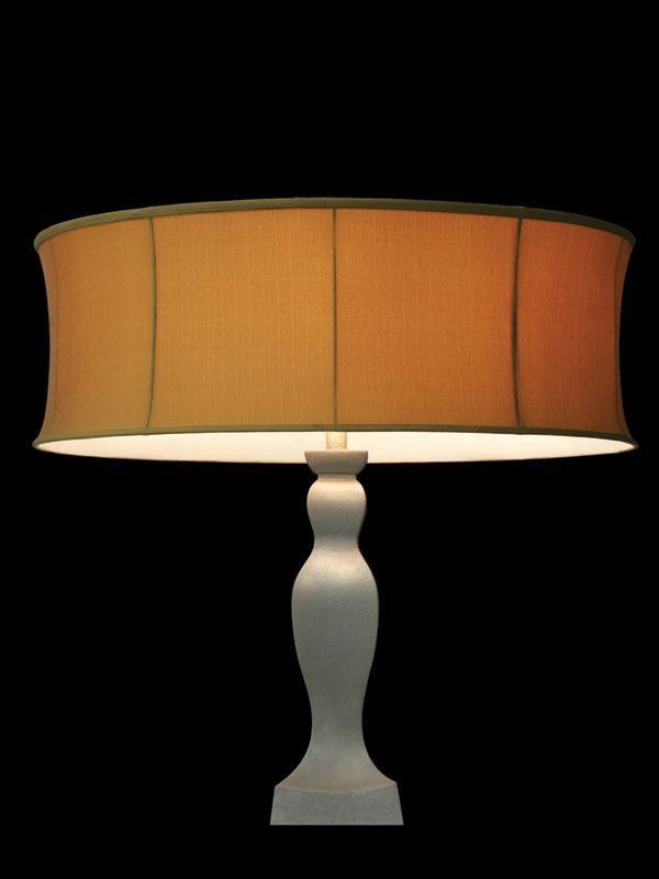 Abat-jour rond | Tissu orangé | Lampe | Abat-jour illimités | Montréal