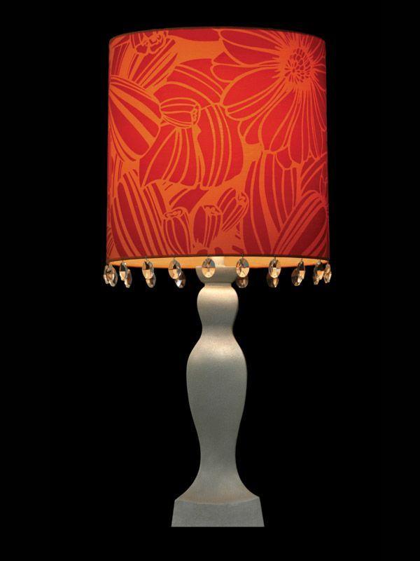 Abat-jour orange | Imprimé floral rouge | Cristaux | Lampe | Abat-jour illimités | Montréal