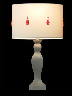 Abat-jour rond | Blanc | Cristaux rouges | Lampe | Abat-jour illimités | Montréal