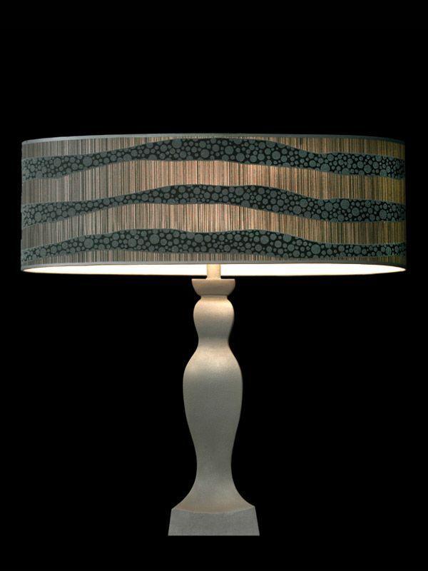 Abat-jour | Combinaison de tissus lignés et à pois | Lampe | Abat-jour illimités | Montréal
