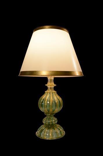 Abat-jour classique blanc avec des bandes or | Lampe | Abat-jour Illimités | Montréal