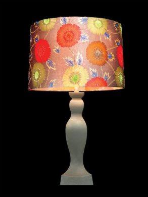Abat-jour rose | Imprimé floral rouge, orange et jaune | Lampe | Abat-jour illimités | Montréal