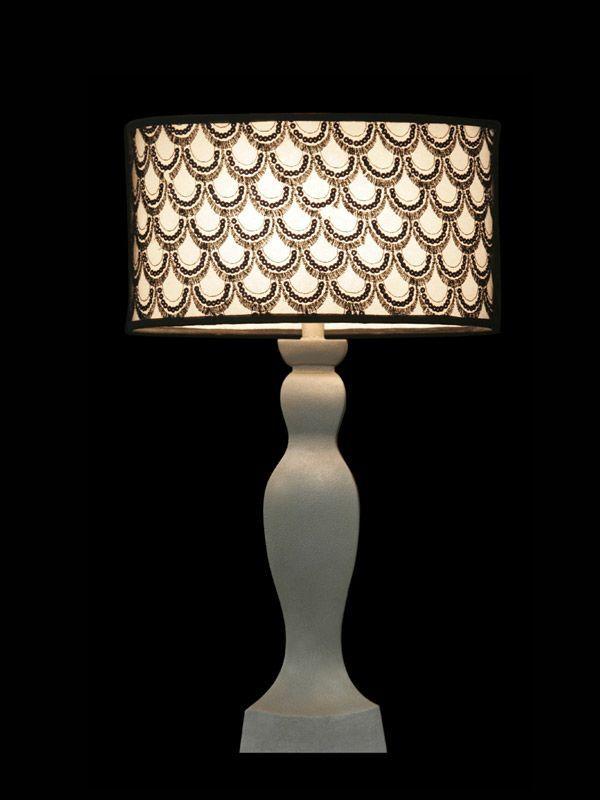 Abat-jour blanc avec un motif en écaille de poisson | Lampe | Abat-jour illimités | Montréal