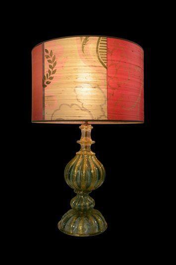 Abat-jour avec de larges bandes rouges et beiges | Lampe | Abat-jour Illimités | Montréal