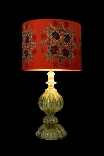 Abat-jour rouge avec de gros motifs organiques | Lampe | Abat-jour Illimités | Montréal
