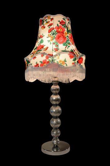 Abat-jour ancien | Motif floral | Franges | Lampe | Abat-jour Illimités | Montréal