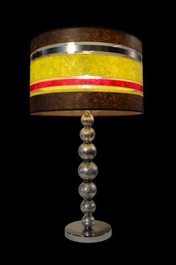 Abat-jour à bandes brunes, noires, rouges et jaunes | Lampe | Abat-jour illimités | Montréal