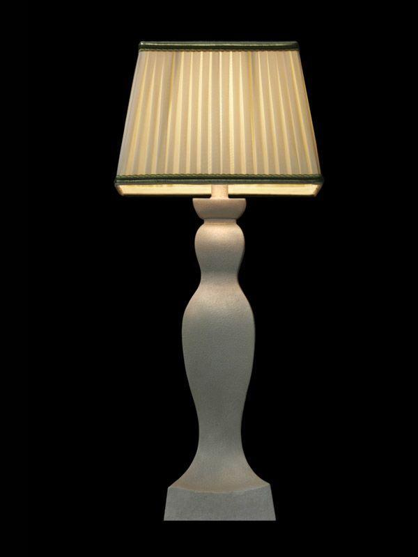 Abat-jour carré en tissu crème | Bordures vertes | Lampe | Abat-jour illimités | Montréal
