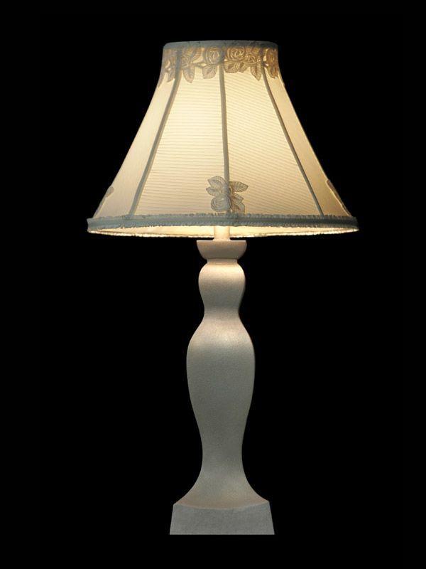 Abat-jour en tissu blanc | Roses brodées | Lampe | Abat-jour illimités | Montréal