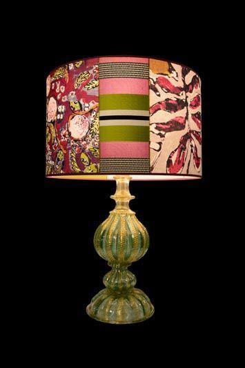 Abat-jour coloré en tissu de style « patchwork » | Lampe | Abat-jour Illimités | Montréal