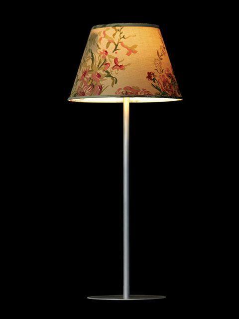 Abat-jour mini-clip beige avec des motifs floraux et des bordures vertes | Lampe | Abat-jour Illimités