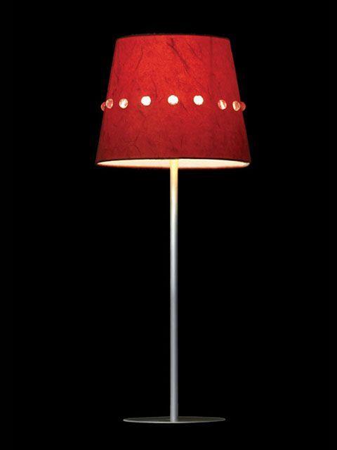 Abat-jour mini-clip rouge incrusté de perles transparentes | Lampe | Abat-jour Illimités | Montréal