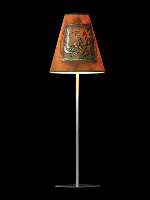 Abat-jour mini-clip orange brûlé avec des symboles cuivrés | Lampe | Abat-jour Illimités