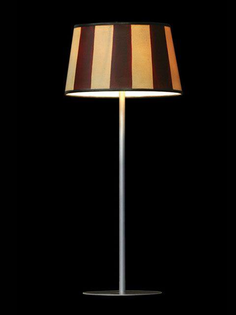 Abat-jour mini-clip composé de bandes verticales beiges et brunes | Lampe |Abat-jour Illimités | Montréal
