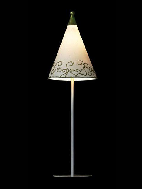 Abat-jour mini-clip conique blanc avec la pointe verte | Lampe | Abat-jour Illimités | Montréal