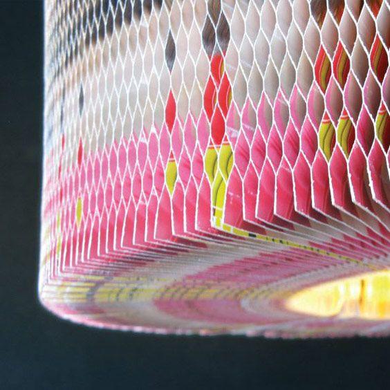 Abat-jour en papier rose et blanc | Lampe | Abat-jour Illimités | Montréal