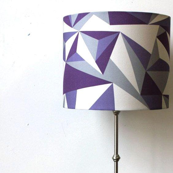 Abat-jour bleu et blanc | Imprimé géométrique | Lampe | Abat-jour Illimités | Montréal